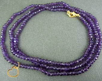 "Gemstone Beaded Chain With Heart Charm -- Finished 24"" Amethyst 3-5mm Bead Chain with Gold Lobster Clasp (Box E)"
