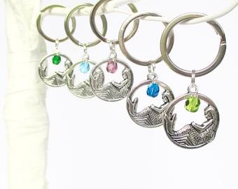 Mermaid keyring - Best friends gift - Mermaid keychain with birthstone - Mermaid party - Sister gift - Stocking filler - UK