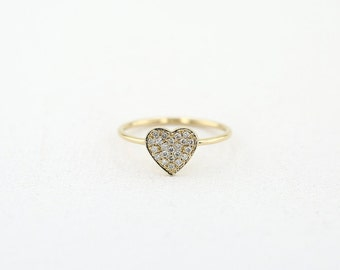 Heart Shaped 14K Gold Diamond Ring/ Thin Dainty Gold Band Diamond Stacking Ring/ Made to Order Gold Heart Shaped Diamond Ring/ R11021