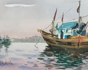 Original Watercolour Painting Art 'Fishing Boats' by Elise De Silva