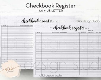 Checkbook Register, A4 Printable, Finance Planner, Money Organizer, Budget Planner, Printable Planner, Monthly Planner, A5 Inserts