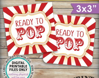 """Ready to Pop Baby Shower Labels Cards Tags, Circus Theme Popcorn Carnival Baby Shower Decor, 3x3"""" tags on 8.5x11"""" PRINTABLE Instant Download"""
