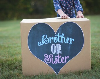 Brother or Sister gender sibling reveal balloon box sign chalkboard printable digital file