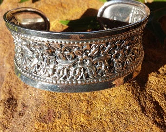 Sterling Silver Flower Cuff Bracelet