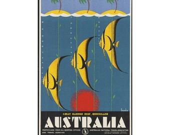 Instant Download - Vintage Travel Poster - Australia, Great Barrier Reef, Queensland