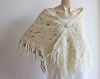 Cream Bridal Shawl/Winter Wedding, Crochet Shawl,Bridal Cover Up-Lace Mohair Shawl-Triangle Shawl-Lace Shawl-Lace Winter Shawl