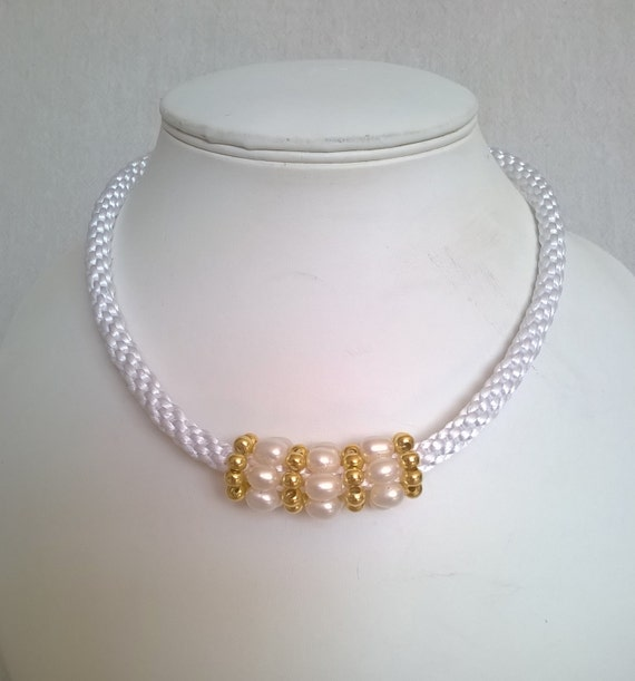S - 373 Pearl necklace using kumihimo and gold plate