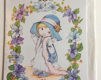 Vintage 18th Birthday Card, Cute Girl in Hat, Unused
