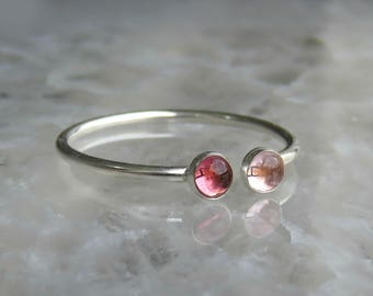 Pink Tourmaline Ring, Watermelon Tourmaline Ring, Sterling Silver Stacking Ring, Pink Gemstone Ring