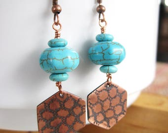 Turquoise Earrings and Hammered Copper Charms, Turquoise and Copper Earrings, Copper Boho Earrings, Copper Anniversary, Honeycomb