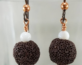Lava Bead Diffuser Earrings with Mother of Pearl