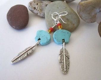 Bear and Feather Earrings