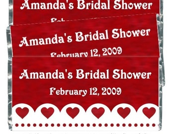 Bridal Shower / Wedding Shower Candy Wrappers - fit over 1.55 oz chocolate bars - red hearts sample