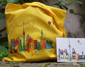 Berlin bunt - hand painted tote bag