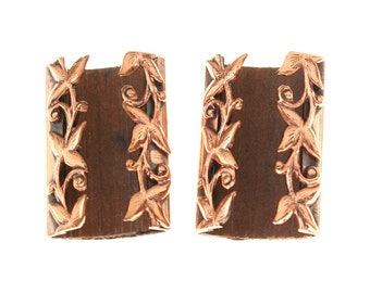 vintage 1950s Renoir earrings • copper & teak MCM jewelry
