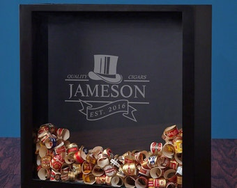 Personalized Shadow Box with Top Notch Cigars Design - A Unique Custom Gift for Men & Women - Proudly Display Your Cigar Bands Anywhere