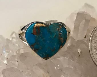 Heart - Turquoise Party Ring  Size 10 1/2