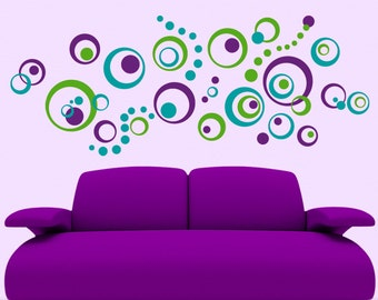 Retro Decor Vinyl Wall Decals 72 Polka Dots and Circles Wall Decal, Wall Pattern Decal, Abstract Designs (0179c115v)