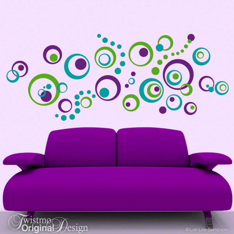 Retro Decor Vinyl Wall Decals 72 Polka Dots And Circles Wall