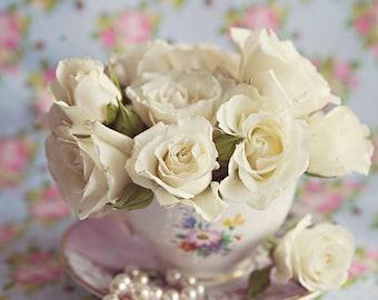 Roses In Teacup ~ 8x10 photo print