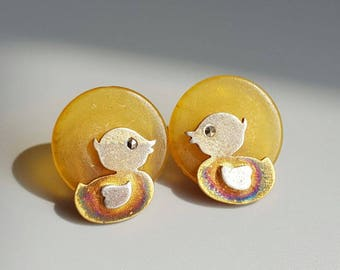 100 % natural Baltic Amber 18 k gold-plated  sterling silver   earrings, weight approx: 4.3 g