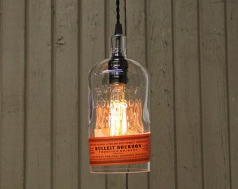Bulleit Bourbon Whiskey Bottle Pendant Light - Upcycled Industrial Glass Ceiling Light - Handmade Bourbon Bottle Light Fixture, Bar Lighting