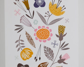 Woodland meadow print contemporary floral A4 giclee digital print
