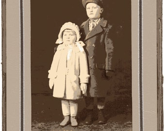Russian Boy and Girl in Winter Coats Vintage Cabinet Photo