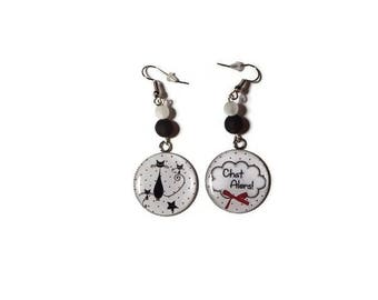 Cabochon earrings cats and black and white/gift/birthday/Christmas polaris bead
