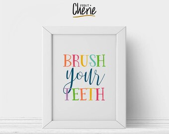Brush your teeth printable, Kids bathroom printable wall art, DIY funny kids bathroom decor, Brush your teeth print download