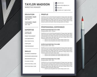 Professional Resume Template, Cover Letter, Professional CV Template, Creative and Modern Resume Design, MS Word, Instand Download, Taylor