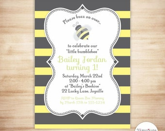 Bee birthday invite etsy bumblebee birthday invitation bee birthday party invite bumble bee party invitation 1st first filmwisefo Images