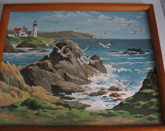 Large Vintage Paint By Number Seascape Lighthouse and Seagull Painting Very Cool