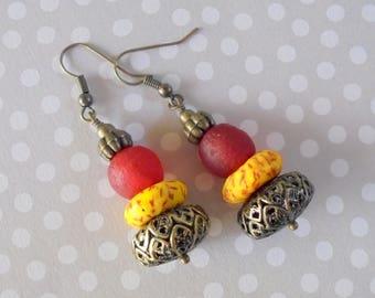 Red and Yellow Boho Ethnic Earrings (3524)