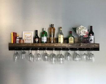 48 X Long Rustic Wood Wine Rack Shelf Hanging Stemware Glass