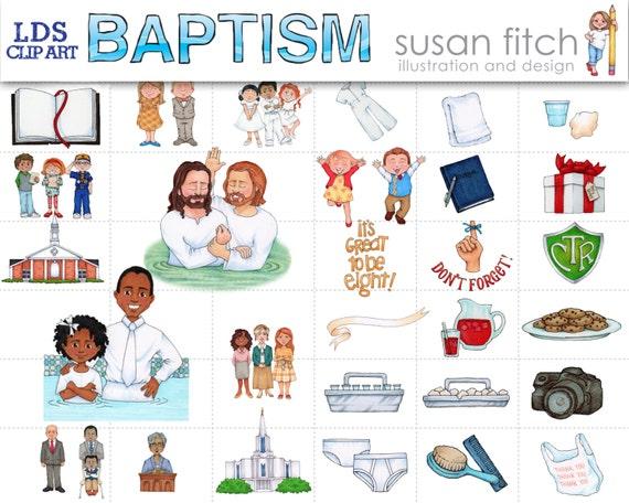 LDS bautismo Clip arte conjunto de SusanFitchDesign en Etsy Studio