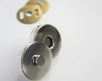 5 sets of 14mm magnetic snap fasteners bag clasps - silver gold bronze gunmetal
