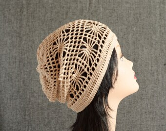 crochet hat Summer cotton beanie Slouchy hat boho hat women pastel romantic gift for her crochet beret sister gift Mesh hat