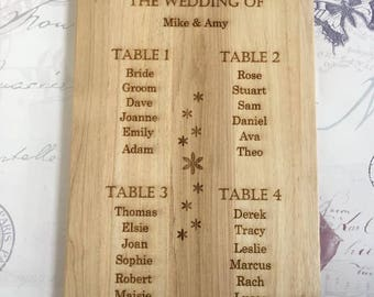 Wooden Engraved Table Plan, Wedding Table Plan, Small Wedding