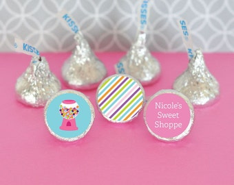 Hershey Kiss Labels-Candy Shoppe Party Favors-Stickers for Candy Kisses-Personalized Hershey Kiss Favor Labels (set of 108)