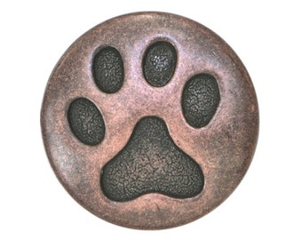 3 Cat Paw 3/4 inch ( 20 mm ) Metal Buttons Antique Copper Color