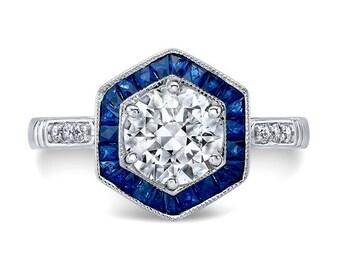 Art Deco Inspired Forever One Moissanite & Blue Sapphire Halo Engagement Ring on 14K White Gold