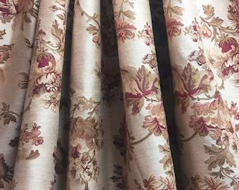 Floral Fabric - Woven Cotton  - Floral Upholstery Medium Weight Fabric -  Soft Rust and Coral Floral Fabric - Old World Fabric - 1 yard