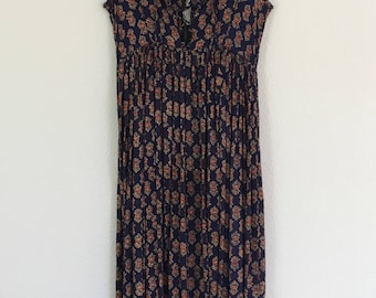 1990s Vintage India Rayon Lace-Up Maxi Dress