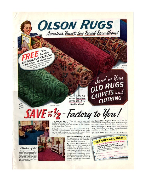 1941 Olson Rugs Vintage Ad 1940u0027s Home Decor Retro Home