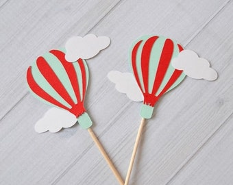 ON SALE Hot Air Balloon Cupcake toppers, Hot Air Balloon Birthday, Up Up and Away