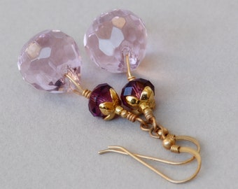Angelica Crystal Drop Earrings - Purple Drop Earrings - Purple Crystal Earrings - February Birthstone