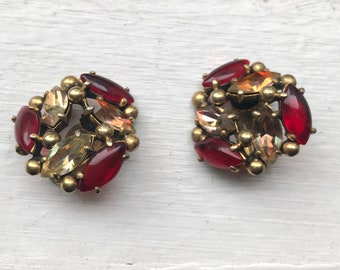 Schiaparelli Vintage Red Stone & Rhinestone Large Gold Clip On Earrings