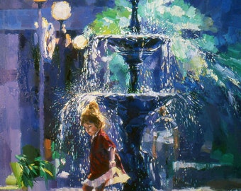 Water fountain Painting   Giclee Print of Palette Knife Painting   Child Painting   Child and water fountain Print