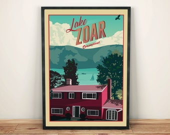 Lake Zoar, Connecticut   Travel Poster    Unframed